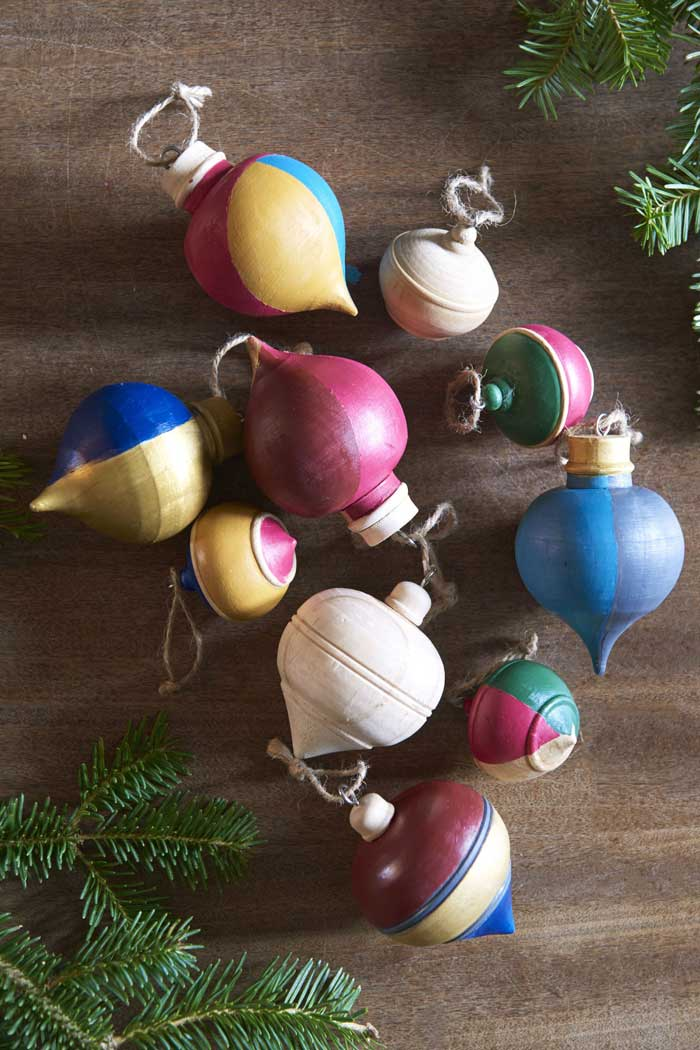upcycled wood finial ornaments