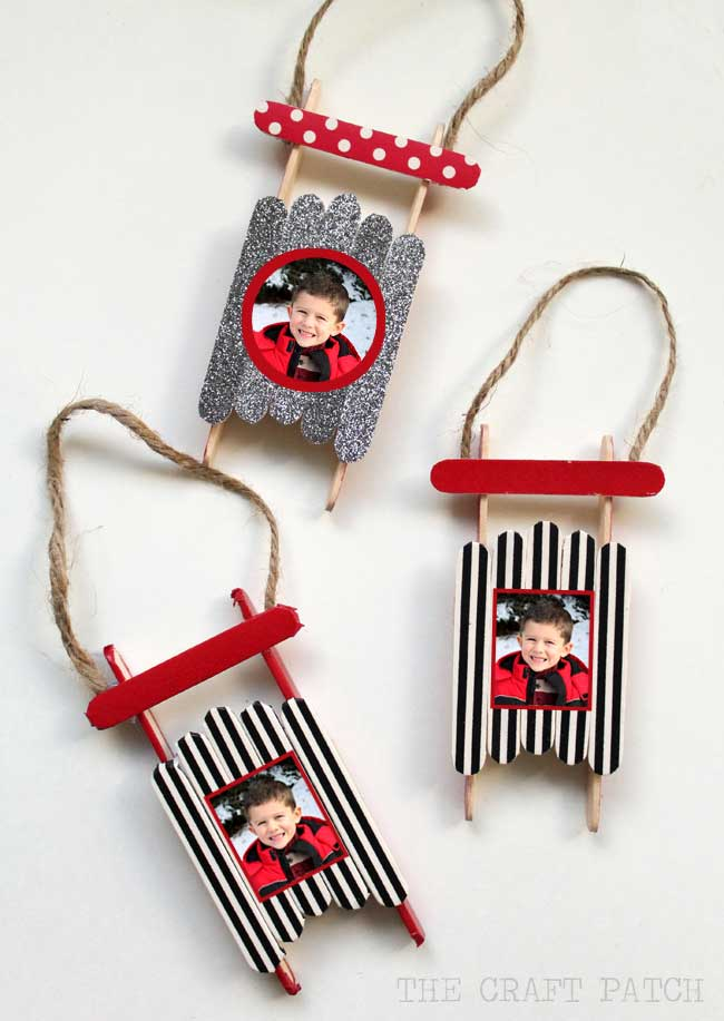 homemade christmas ornaments - personalized sleds