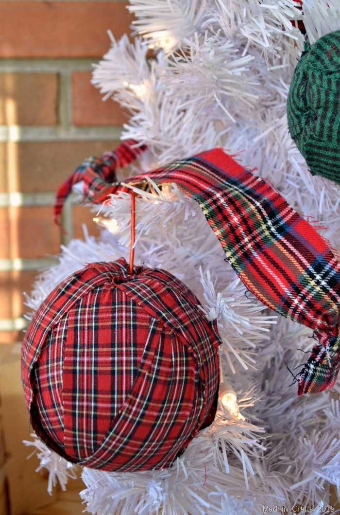homemade Christmas ornaments with rag strips