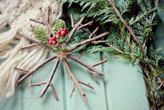 homemade rustic twig snowflake Christmas ornament