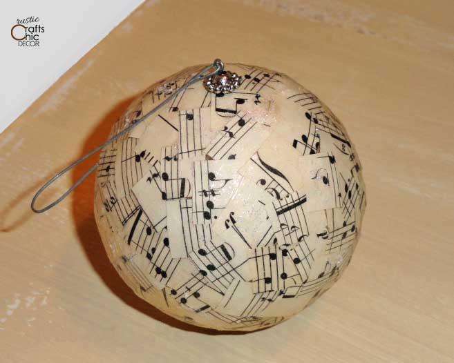 diy songsheet christmas ornament ball