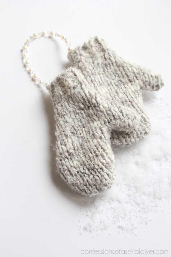 diy sweater mitten ornaments