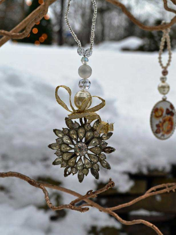 upcycled brooch ornaments