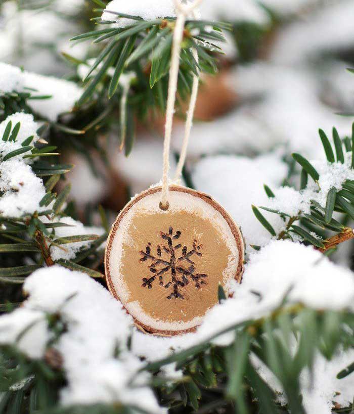 diy wood burned snowflake ornaments