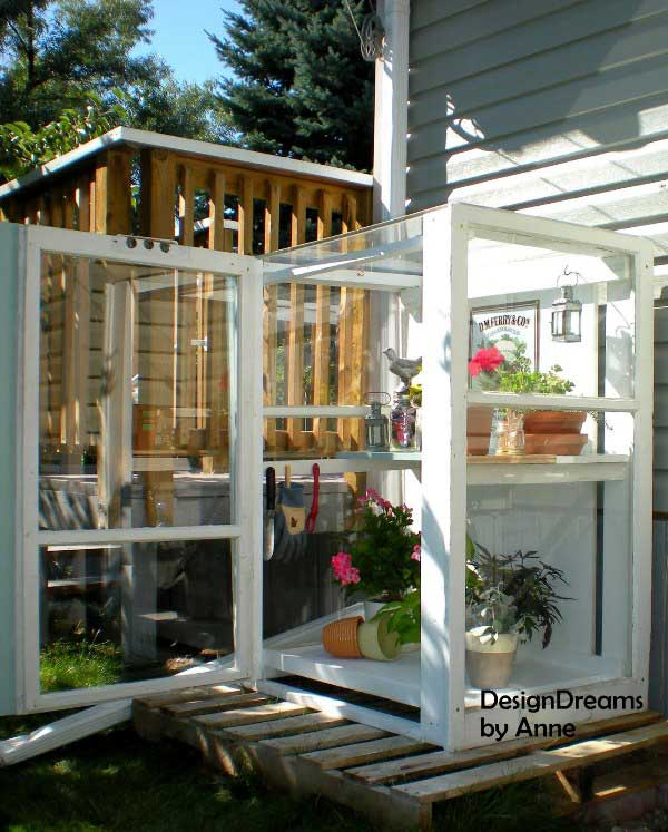 mini greenhouse made from old windows