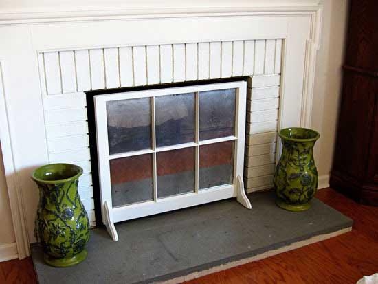 window fireplace screen