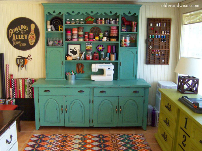 craft room upcycled hutch