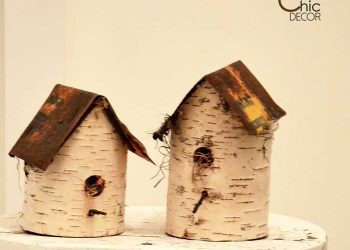 diy birdhouse using birch and old signs