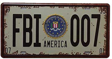 tin license plate sign