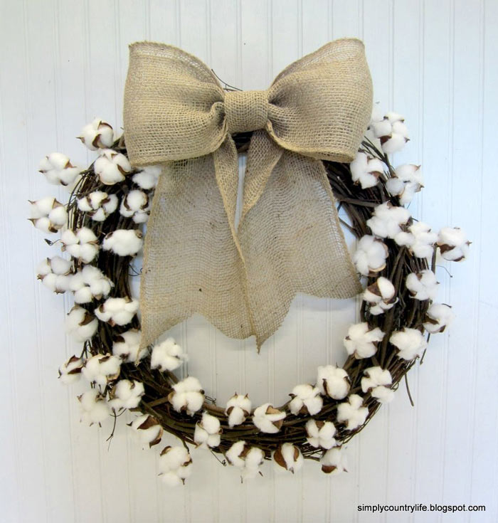 cotton ball grapevine wreath