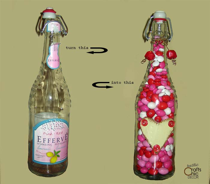 recycled bottle valentine gift