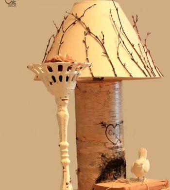diy birch lamp with wood burning