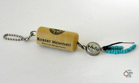 turquoise bead wine cork keychain