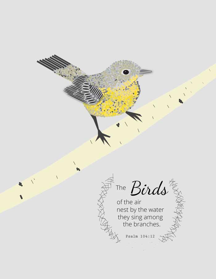 bird on tree free printable