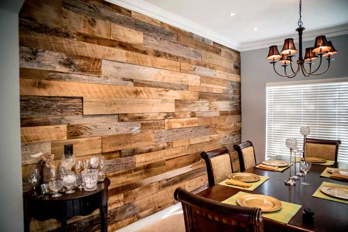 mixed reclaimed rustic wood wall