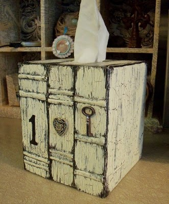 vintage book tissue box cover