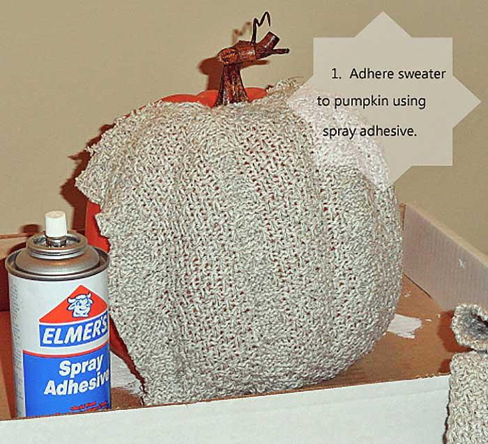diy sweater pumpkin step one