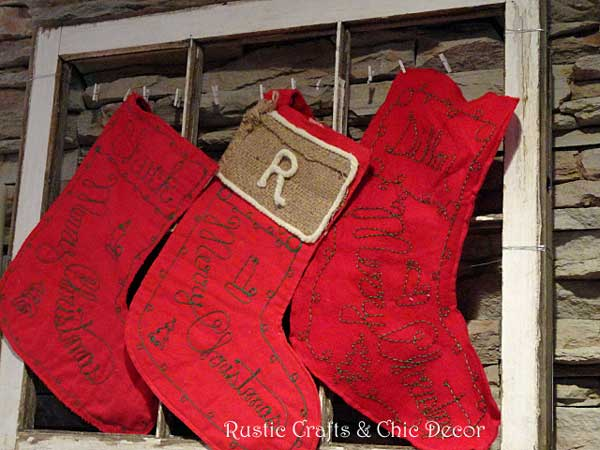 how to make burlap labels-use yarn on burlap