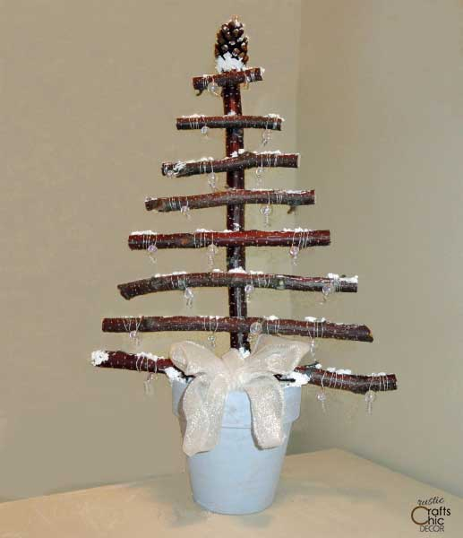 how to make a branch christmas tree