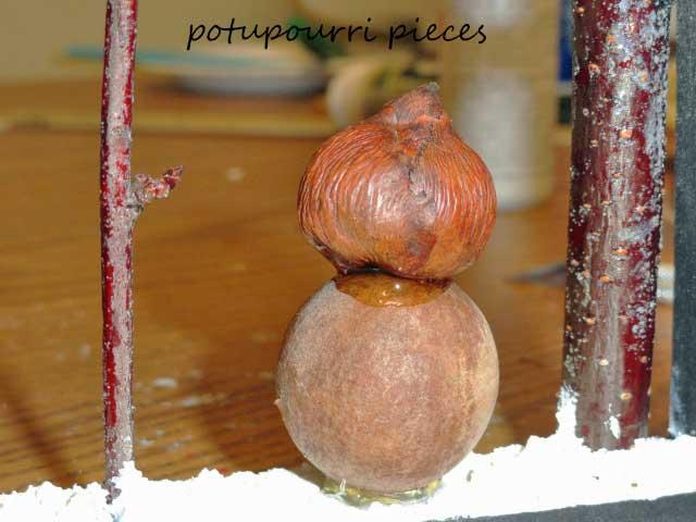 potpurri pieces for snowman