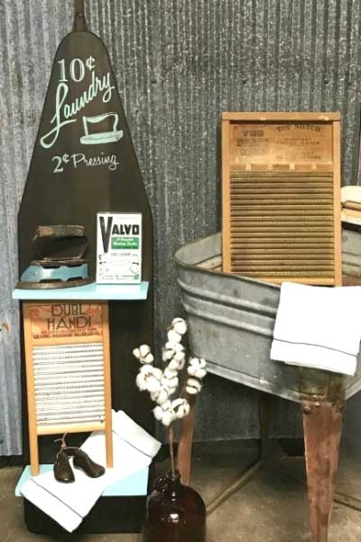 vintage ironing board shelving unit