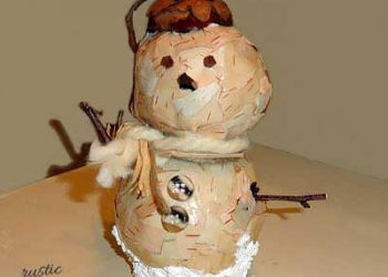 how to make a birch bark snowman