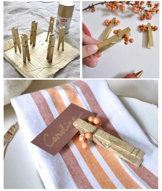 diy place card holders with clothespins