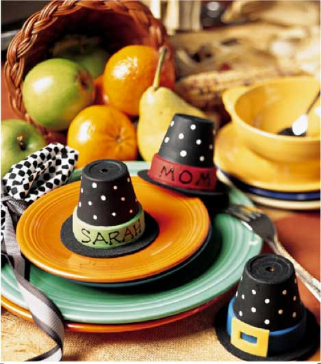 diy pilgrim hat place card holders