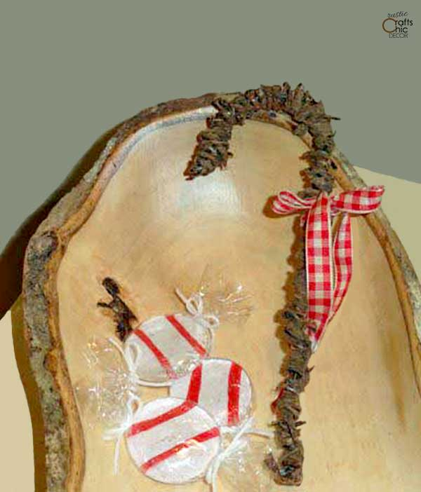 rustic candy cane ornament