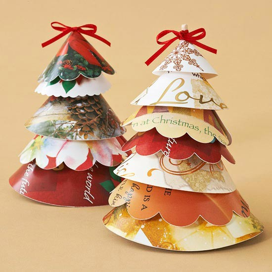 recycle Christmas cards into Christmas trees