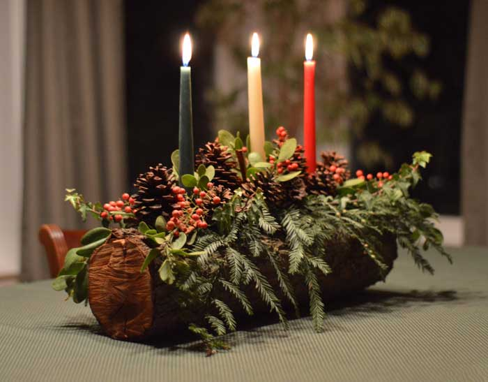 Christmas candle centerpiece with glued taper candles