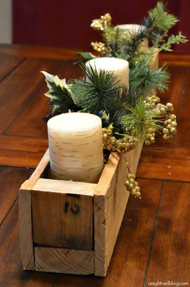 Christmas candle centerpieces with pallets
