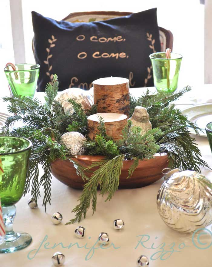 rustic bowl Christmas candle centerpiece