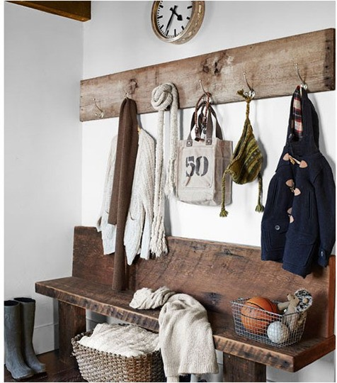 rustic bench and wall hooks