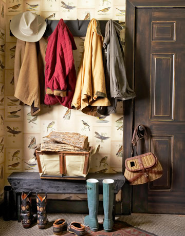 warm and rustic entryway