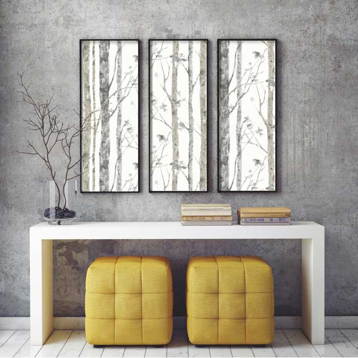 framed birch tree wallpaper idea
