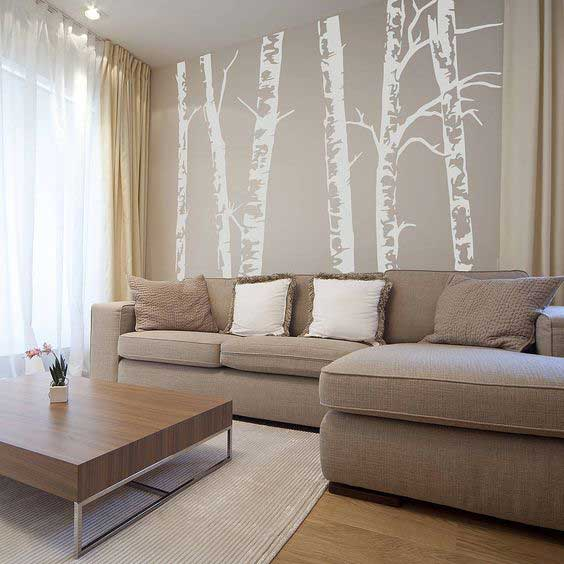 neutral birch tree wallpaper