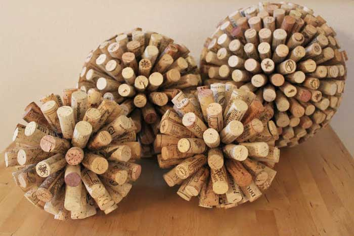 recycled wine cork decorative balls