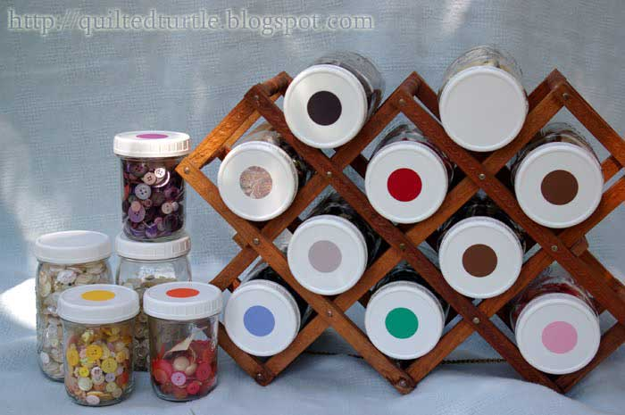 wine rack holding storage jars