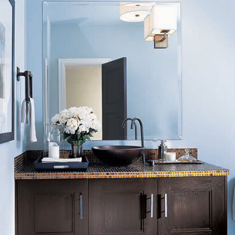 Bathroom Decorating in Blue-Brown Colors, Chocolate ...  |Brown And Blue Bathroom Decor