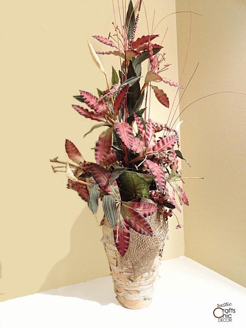 birch and burlap vase