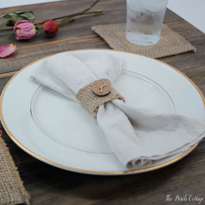 burlap napkin ring with branch button