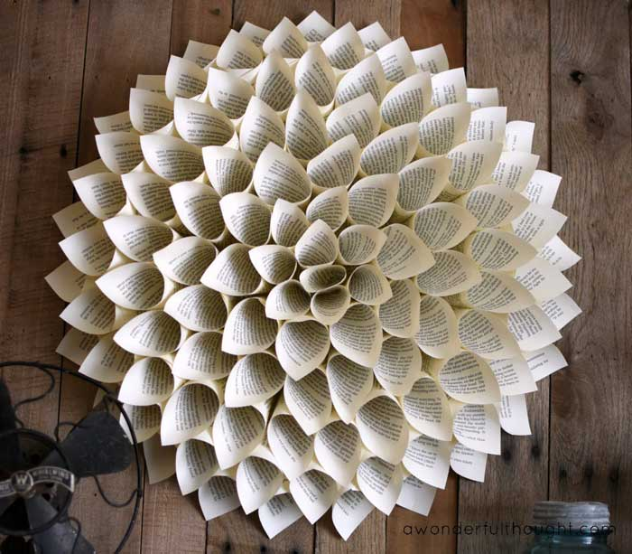 dahlia book page wreath