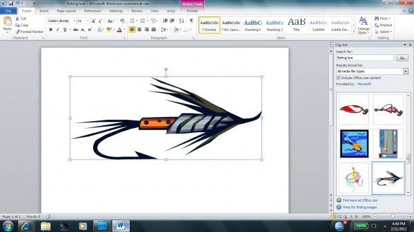 Screenshot from Microsoft Word of fishing lure clip art being resized.