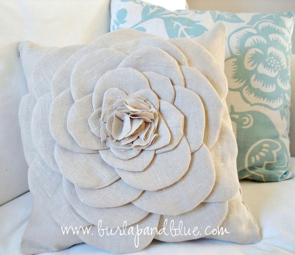 linen diy flower pillow
