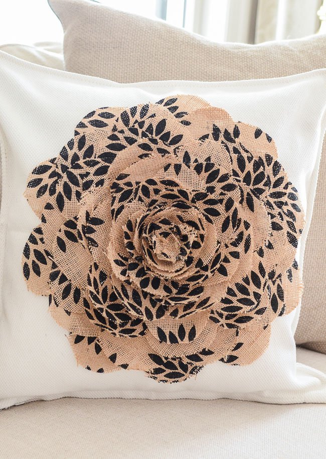 no sew burlap flower diy pillow idea