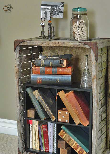 old crate bookcase