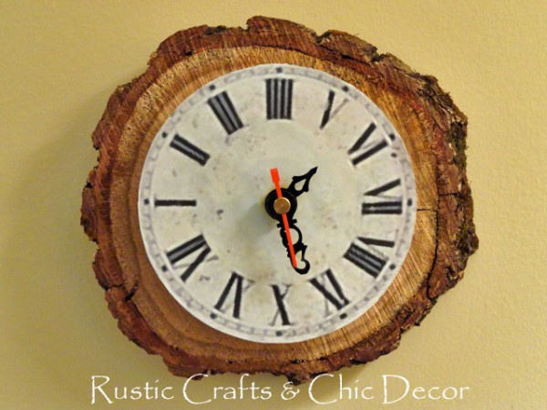 Finished rustic clock craft on the wall.