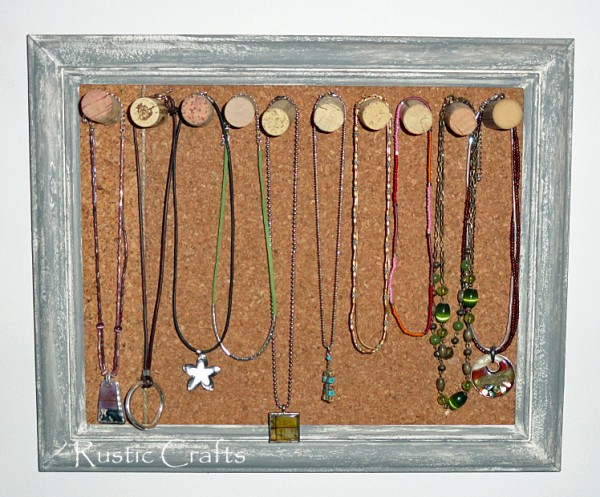 corkboard and wine cork jewelry holder