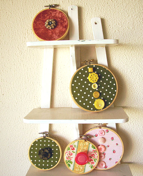 embroidery hoop and button wall art